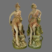 Antique Art Nouveau Pair of Royal Dux Porcelain Statues Austria