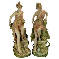 Antique Art Nouveau Pair of Royal Dux Porcelain Statues Austria