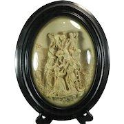 1850-1899 Framed Hand Carved Meerschaum Bas Relief Plaque by E. Cassier France