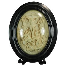 1850-1899 Framed Hand Carved Meerschaum Bas Relief Plaque by J. Revillon Crucifixion France