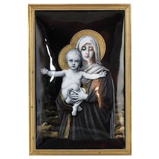 1850-1899 Framed Enamel Limoges Plaque of Virgin Mary and Baby Jesus France