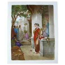 1850-1899 Hand Painted Multi-Color KPM Porcelain Plaque of Jesus Germany