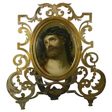 1850-1899 Hand Painted Framed KPM Style Porcelain Plaque Ecce Homo Germany