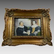 Antique Hand Painted Framed Miniature Portrait After Van Dyck France