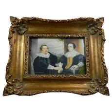 Antique Hand Painted Framed Miniature Portrait After Van Dyck France