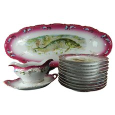 Old Porcelain Fish Service Set for 10 People Spain