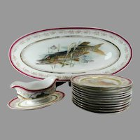 Old Porcelain Fish Service Set for 10 People Austria
