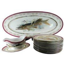 Old Porcelain Fish Service Set for 10 People Austria