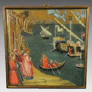 Antique Framed Miniature Hand Painted Scene Saint Nicholas Italy