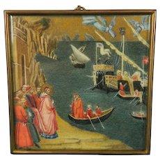 Antique Framed Miniature Hand Painted Scene Saint Nicholas Italy