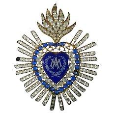 Large Antique Victorian Reliquary Ex Voto Virgin Mary's Heart Rhinestones France