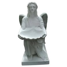 Antique Parian Biscuit Figure Kneeling Angel After Thorvaldsen Royal Copenhagen