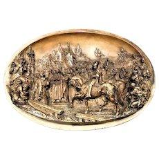 Antique Meerschaum Relief Plaque by Justin Mathieu St Joan of Arc