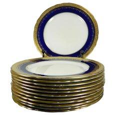 1900-1940 Set of 12 Aynsley Porcelain Plates Cobalt Blue & Gold England