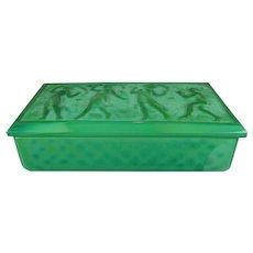 Vintage Malachite Glass Trinket Box Czech Republic 20th Century