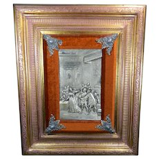 Vintage Framed Silver Plated Repousse Plaque Europe