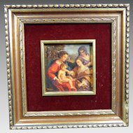 Antique Framed Signed Oil Painting on Wood Virgin Mary and Baby Jesus Mexico