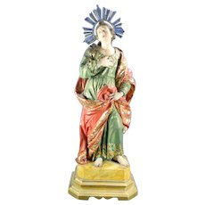 1800-1850 Hand Carved Wood Multi-Color Religious Statue Saint John Mexico