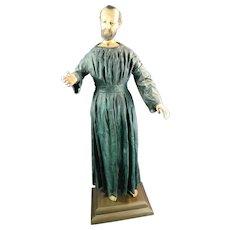 Post-1940 Multi-Color Papier Mache Figurine Statue of a Saint Mexico