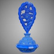 Vintage Blue Lapis Lazuli Pesnicak Glass Perfume Bottle Czech Republic 20th Century
