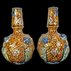 Vintage Pair of Hand Painted Alhambrian Porcelain Majolica Flower Vases Europe 20th Century