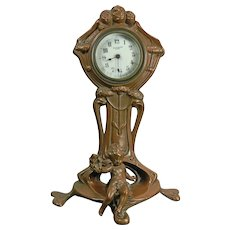 Antique Art Nouveau Bronze Night Stand Clock France & USA Early 20th Century