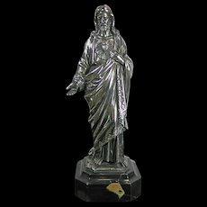 Antique Chiselled 800 Silver Statue of Jesus Germany 19th Century