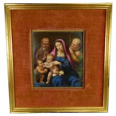 Antique Framed Hand Painted Porcelain Plaque with the Virgin Mary and Baby Jesus Italy 19th Century