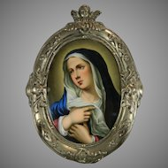 Antique Silver Framed Hand Painted Porcelain Plaque with the Virgin Mary France 19th Century
