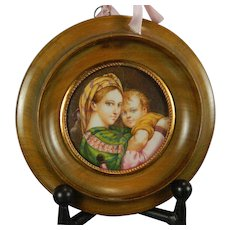 Antique Framed Hand Painted Miniature Plaque of the Virgin Mary and Baby Jesus after Raphael Virgin of the Chair France 19th Century