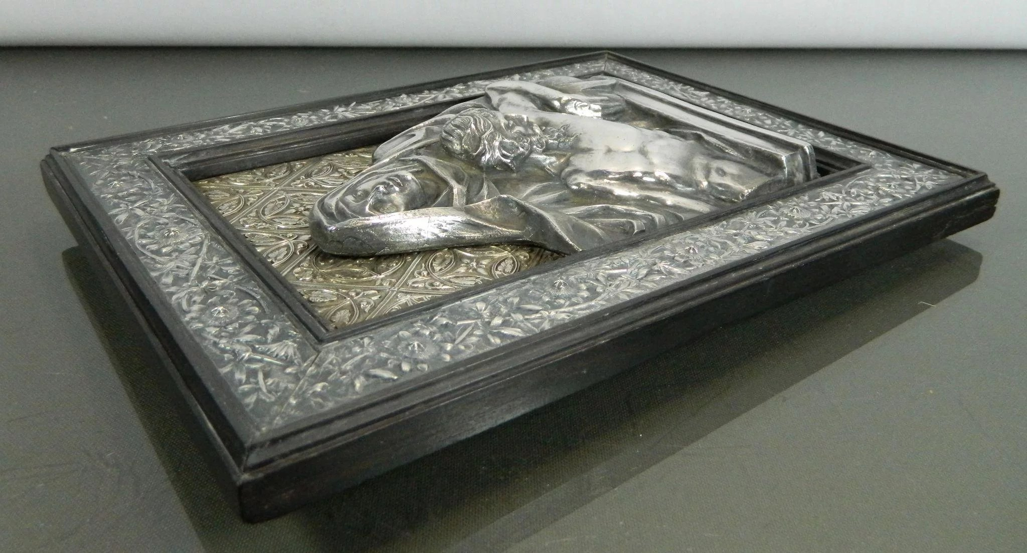 fe93c72c4b1 Click to expand · Antique Chiselled Sterling Silver Frame Stand with a  Plaque of the Virgin Mary ...