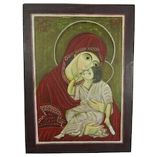Vintage Hand Painted Orthodox Icon with the Virgin Mary and Baby Jesus Greece 20th Century