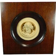 Vintage Framed Hand Carved Soapstone Round Plaque with the Head of Jesus France 20th Century