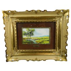 Vintage Framed Miniature Hand Painted Landscape Great Britain 20th Century
