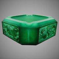 Vintage Art Deco Style Malachite Glass Ashtray Czech Republic 20th Century