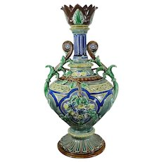 Vintage Victorian Hand Painted Rorstrand Porcelain or Majolica Flower Vase Sweden 20th Century