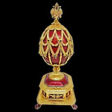Post-1940 Imperial Eagle Sterling Silver Faberge Jeweled Imperial Musical Egg 150th Anniversary