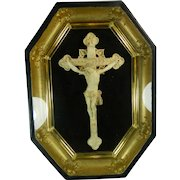 1850-1899 Framed Napoleon III Hand Carved Meerschaum Bas Relief Plaque Christ on the Cross France