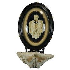 Antique Framed Napoleon III Hand Carved Meerschaum Bas Relief Plaque Two Angels France