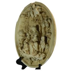Antique Framed Napoleon III Hand Carved Meerschaum Bas Relief Plaque the Virgin Mary and Baby Jesus France