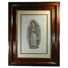 Old Framed Engraving of Our Virgin of Guadalupe Signed and Dated Mexico