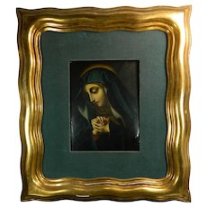Antique Framed Oil Painting on a Plaque Copper of Our Virgin of Sorrows Dolorosa Mexico