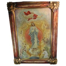 Large Antique Framed Oil Painting on Canvas of the Ascent of the Virgin Mary to Heaven Mexico