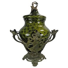 Antique Art Nouveau Style Glass Urn Spelter Stand Austria