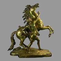 Antique Gold Gilded Bronze Statue After Coustou The Marly Horses France