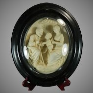 Antique Framed Napoleon III Hand Carved Meerschaum Bas Relief Plaque the Sacred Family France