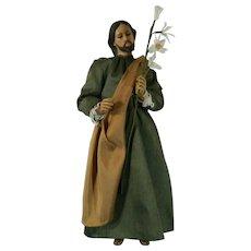 Vintage Hand Carved Wood Statue Figurine of Saint Joseph Mexico