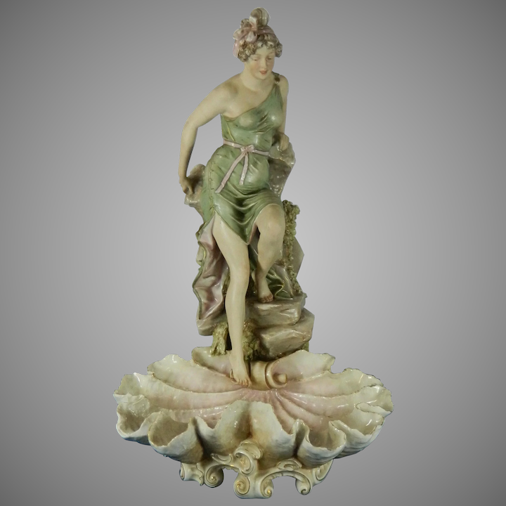 1091a7ac823 Large Antique Centerpiece Lady Figurine Royal Dux Porcelain Czech Republic