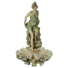 Large Antique Centerpiece Lady Figurine Royal Dux Porcelain Czech Republic