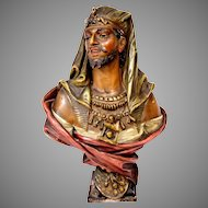 A Large Antique Goldscheider Style Hand Painted Terracotta Bust of an Oriental Man Signed Austria